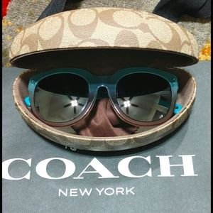 Coach Sunglasses Teal & Beige Turquoise Casey